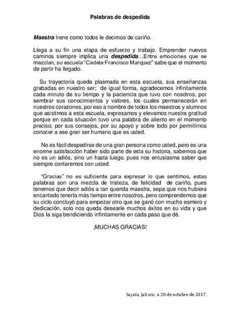 doc palabras de despedida maestra jubilada jose vazquez academia edu