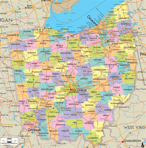 political map  ohio ezilon maps