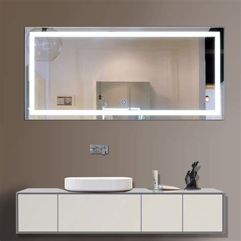60 x 28 in horizontal led bathroom silvered mirror with