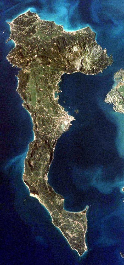 landkarte von korfu satellitenbild von korfu weltkarte