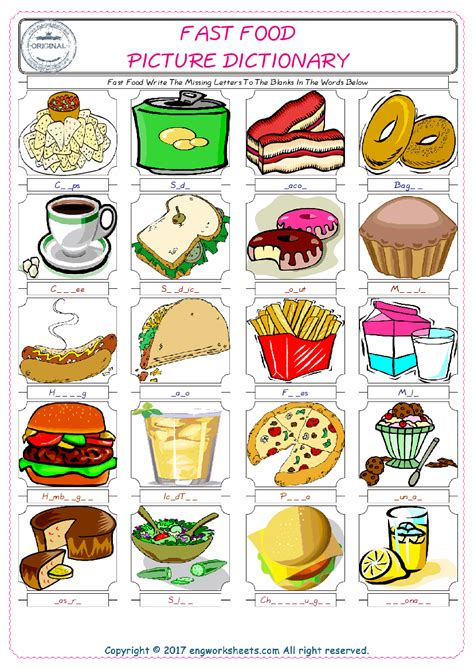 fast food esl printable picture english dictionary