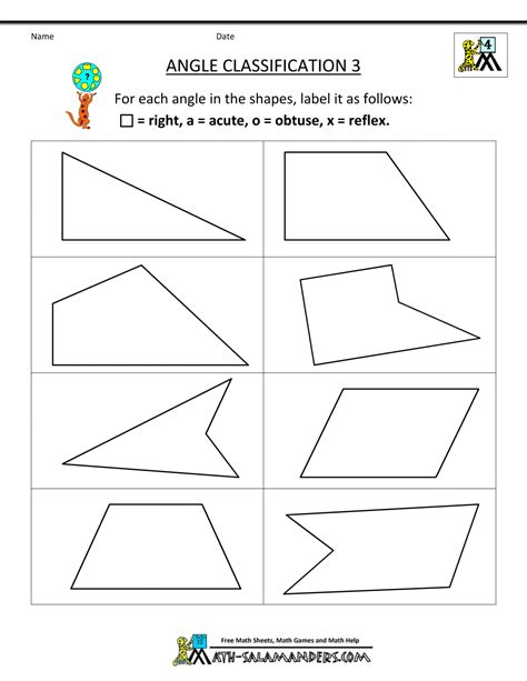 grade math worksheets angle classification gif