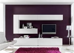 Meuble Salon Blanc : salon meuble tv turin meuble tv blanc pour votre salon ~ Dode.kayakingforconservation.com Idées de Décoration