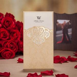 laser cut wedding invitations cards romantic red gold With wedding cards paper material