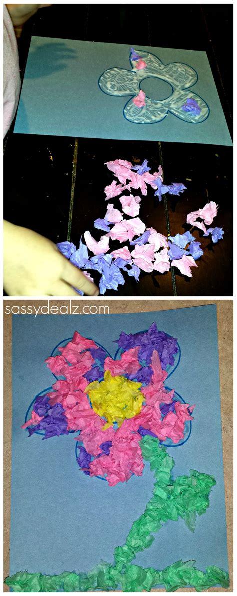 easy tissue paper flower craft  kids flower crafts