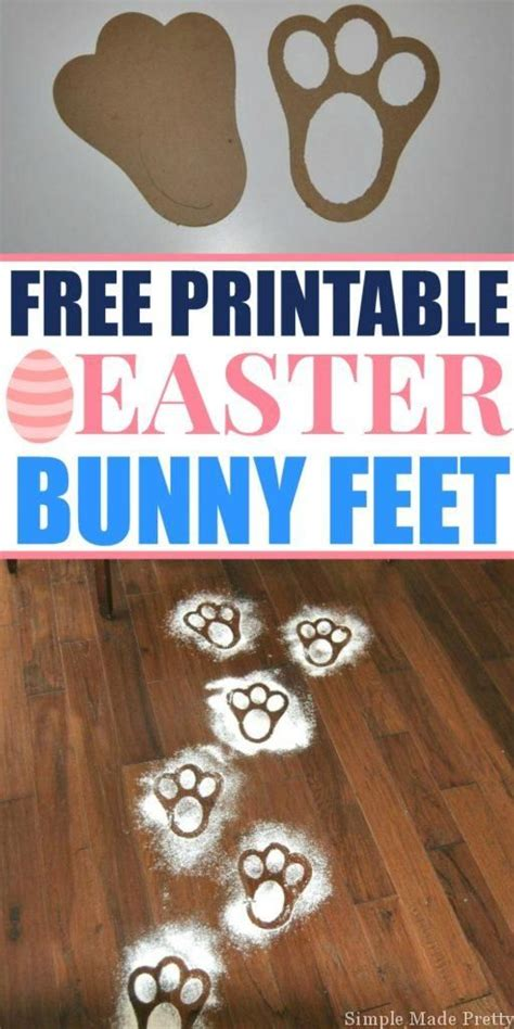 printable easter bunny feet template simple  pretty    easter