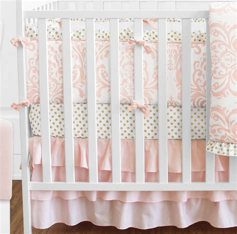 colored baby cribs jojo blush pink white damask gold dot crib baby