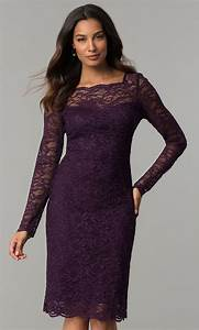 Long-Sleeved Eggplant Glitter-Lace Wedding-Guest Dress