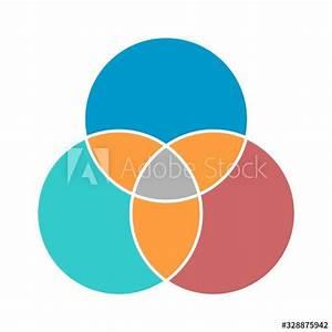 Venn Diagram Maths Vector  Negative Space  Color Modern Icon