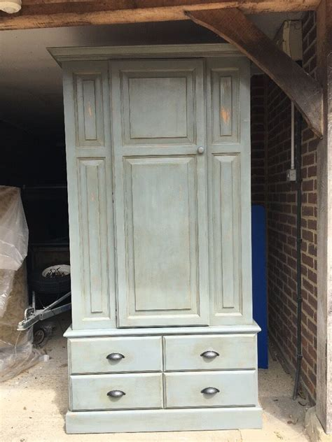 Blue Wardrobes For Sale by Painted Blue Grey Shabby Chic Pine Wardrobe For Sale In