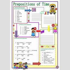 Prepositions Of Time  English Worksheets  English Prepositions, English Grammar Worksheets