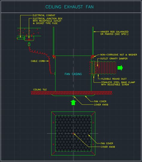 Ceiling Exhaust Fan Cad Block Typical Drawing For