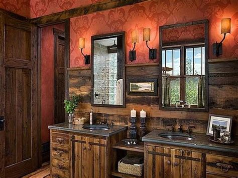 Ultra Rustic Bathrooms Designs With Red Walls