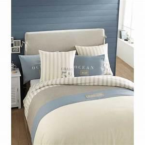 Parure De Lit Marbre : parure de lit 220 x 240 cm en coton blanche oc an maisons du monde ~ Melissatoandfro.com Idées de Décoration