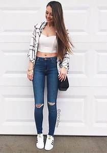 Jeans blue denim cute outfit pretty black white shoes ripped jeans blue jeans cute ...
