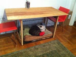 custom built dining table perfectly fits dog crate under With dog crate under bed