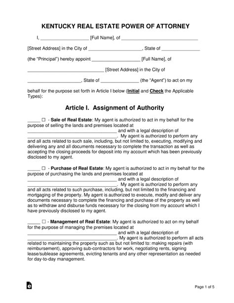 free kentucky real estate power of attorney form pdf