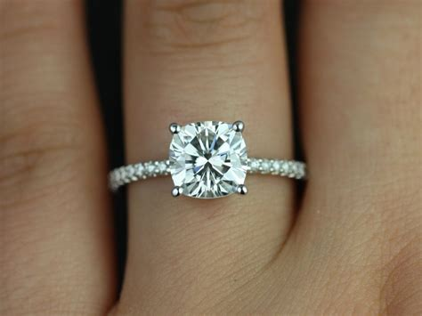 solitaire cushion cut engagement rings wedding promise