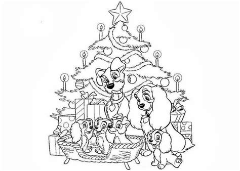 Lady And The Tramp Christmas Coloring Pages