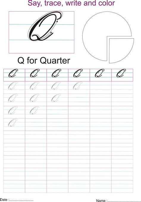 Q In Cursive Cursive Captial Letter Q Worksheet