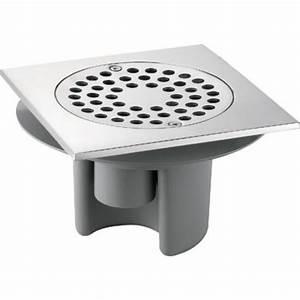Siphon de sol avec platine laiton et grille inox DELABIE