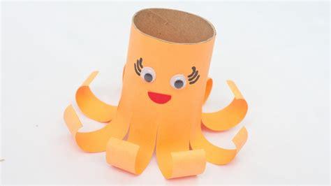 create  cute toilet paper roll octopus diy