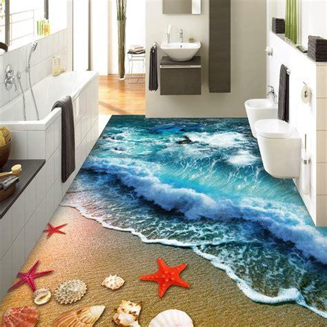 3D Floor Tiles Beach Sea Wave Photo Mural Wallpaper Living