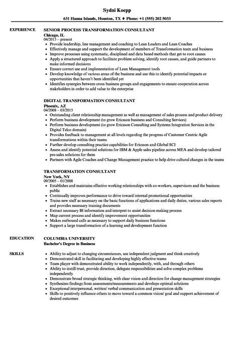 Transformation Consultant Resume Samples  Velvet Jobs