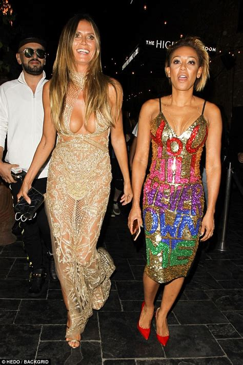 vmas  mel    busty heidi klum arrive  party
