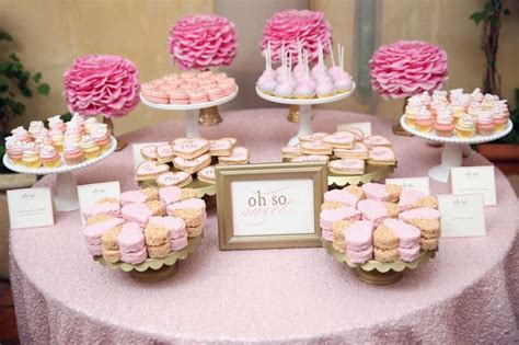 pink dessert table baby shower quot oh so sweet quot dessert table pink gold is the perfect