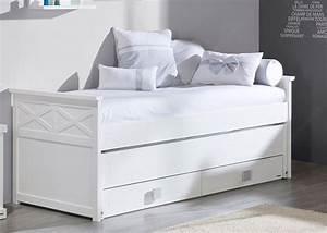 Lit Bureau Enfant : lit 2 couchages et 2 tiroirs de rangement trebol chez ksl ~ Farleysfitness.com Idées de Décoration