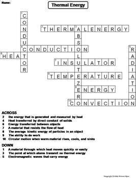 thermal energy worksheet crossword puzzle  science spot