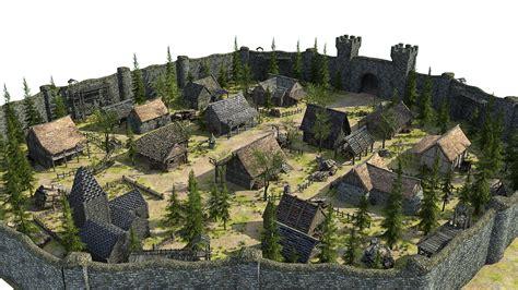 model medieval fantasy town vr ar  poly max obj
