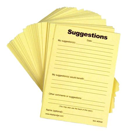 suggestion forms pad