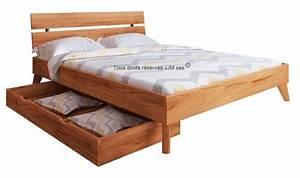 Bois De Lit : lit en bois massif adulte avec tiroir de rangement greg mobilier chambre en bois massif ~ Teatrodelosmanantiales.com Idées de Décoration
