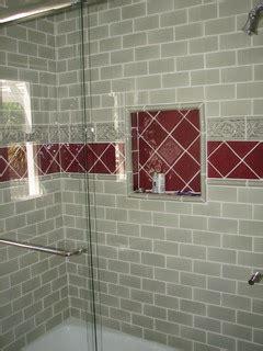 sage green  burgundy tile walker zanger guest bath