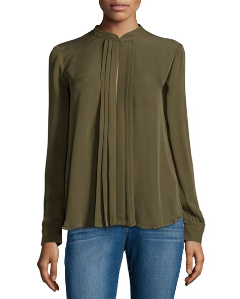 olive green blouse l 39 agence pleated keyhole blouse in green olive lyst