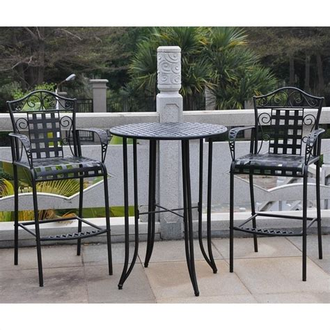 tall outdoor bistro table set 3 piece iron patio bar height bistro set 3467
