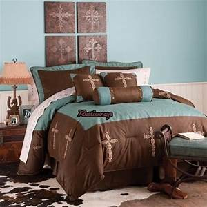 New, Western, Rustic, Turquoise, Cross, Comforter, Bedding