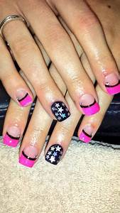 Pink and black acrylic nails with stars | Nails ...