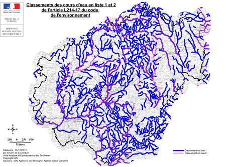 liste one carte du classement des cours d eau en liste 1 et 2 eau des cartes th 233 matiques cartes et