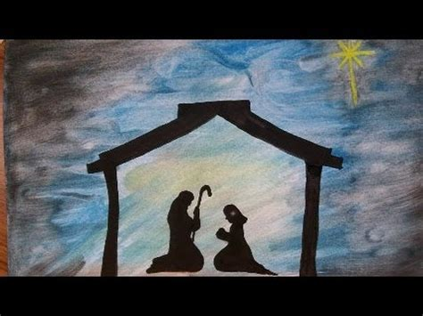 art   paint  nativity silouette christmas story