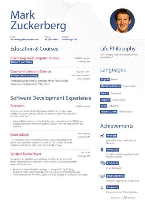 Yahoo Resume Ceo by What Zuckerberg S Resume Might Look Like If He Never Became A Billionaire Success