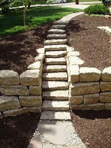 "6"" limestone steps with 14"" ledgerock retaining walls. # ..."