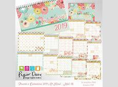 Planner Mensal e Calendário 2019 A4 Floral Modelo 06 no