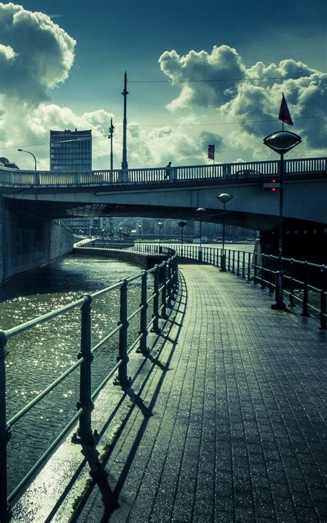 water bridge street view lockscreen android wallpaper