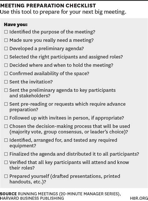 checklist  planning   big meeting