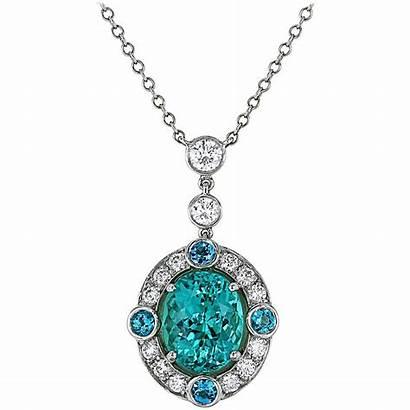 Necklace Pendant Tourmaline Paraiba Platinum Diamond Gold