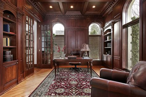 Library With Cherry Wood Paneling Stock Photo
