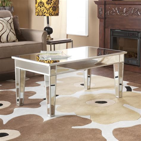 Simple Modern Rectangle Mirrored Coffee Table With Wooden